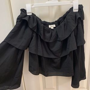 Cold Shoulder Cropped Ruffle Top